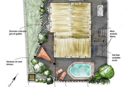 Esquisse de plan d'aménagement de jardin par Gingko
