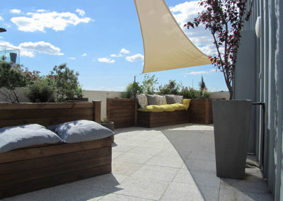Aménagement paysager d'une terrasse en ville