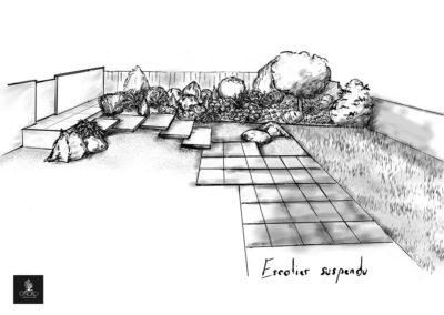Esquisse d'aménagement d'un jardin avec un escalier