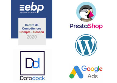 Logos partenaires Index : Wordpress, EBP, Prestashop, Google Ads, Data Dock